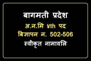 Bagmati Pradesh A.N.M Bigyapan 502-506 Swikrit Namawali