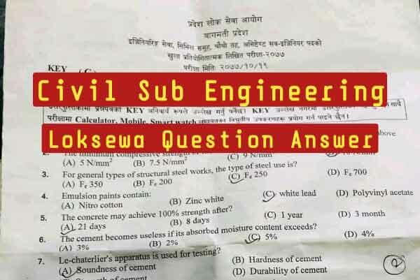Best Civil Sub Engineering Loksewa Question 2021