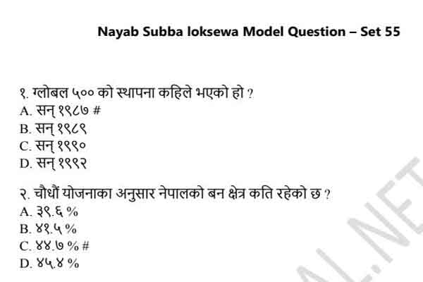 Nayab Subba Loksewa Model Question 2021