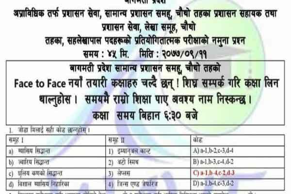 Prashasan Sahayak, Prashasan Sewa Loksewa Model Question